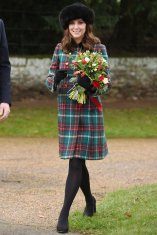 The Duchess of Cambridge leaves the Christmas Day morning church service at St Mary Magdalene Church in Sandringham, Norfolk. (Photo by Joe Giddens/PA Images via Getty Images)